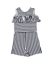 Magil - Flounce striped jumpsuit in blue and white