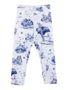 Monnalisa - Printed leggings in white and blue