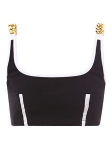 GCDS - Chain shoulder strap cropped top in black