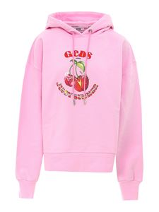 GCDS - Cherry printed cotton hoodie in pink