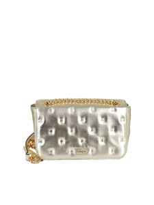 Moschino - Debossed laminated leather bag in gold