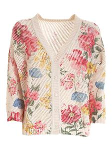 Twin-Set - Floral printed boxy cardigan in beige