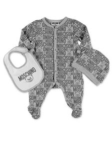 Moschino Kids - Onesie and hat set in grey