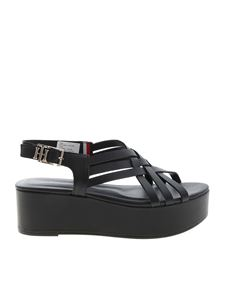 Tommy Hilfiger - Intertwined wedge sandals in black