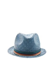 Paul Smith - Capello blu con nastro multicolore