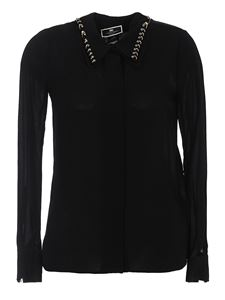 Elisabetta Franchi - Crêpe viscose shirt with piercings in black