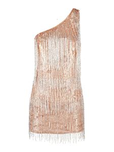 Elisabetta Franchi - Fringed one-shoulder mini dress in gold color