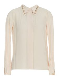 Elisabetta Franchi - Crêpe viscose shirt with piercings in beige