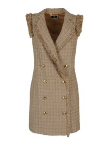 Elisabetta Franchi - Fringed tweed dress in beige