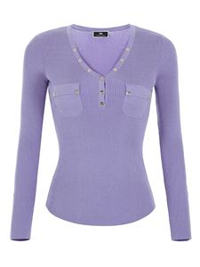 Elisabetta Franchi - Buttoned V-neck sweater in purple
