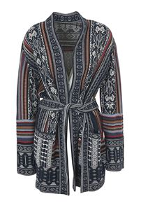 Etro - Mexican patterned cardigan in blue