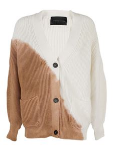 Roberto Collina - Two-tone cardigan in white and camel