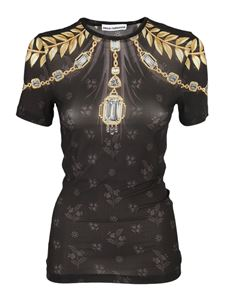 Paco Rabanne - Jewel and floral printed T-shirt in black