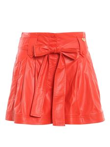Twin-Set - Faux leather shorts in red