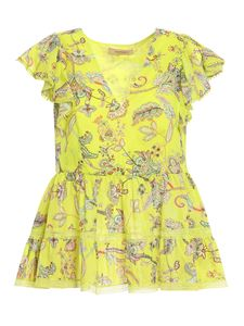 Twin-Set - Paisley printed top in yellow