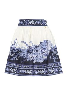 Twin-Set - Porcelain printed mini skirt in blue and white