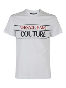 Versace Jeans Couture - T-shirt con stampa logo lettering bianca