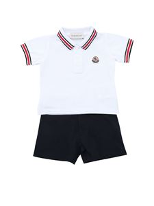 Moncler Jr - Polo and shorts in white and blue