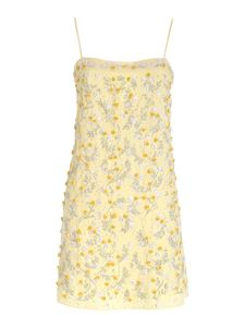 Blumarine - Dress with jeweled floral embroidery in yellow