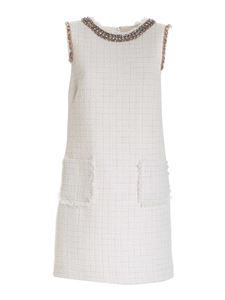 Blumarine - Bouclé dress with jewel details in ivory