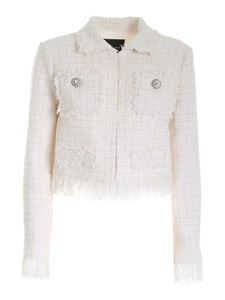 Blumarine - Bouclé jacket with jewel details in ivory