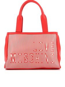 Love Moschino - Striped faux leather and canvas tote in red