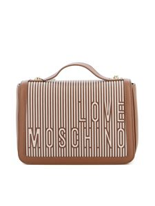 Love Moschino - Borsa a spalla in similpelle e tela marrone