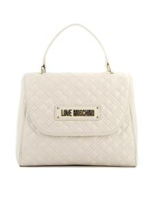 Love Moschino - Quilted faux leather tote bag in ivory color