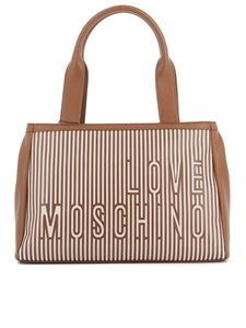 Love Moschino - Striped faux leather and canvas tote in brown