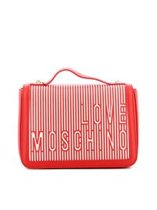 Love Moschino - Faux leather and canvas bag in red