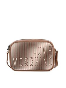 Love Moschino - Borsa a spalla a righe in pelle sintetica marrone