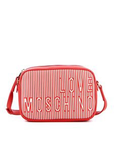 Love Moschino - Striped faux leather shoulder bag in red