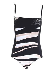 Max Mara - Swimsuit in black, white and beige