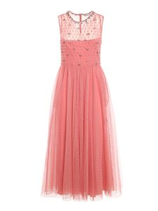 Red Valentino - Abito in tulle point d'esprit rosa