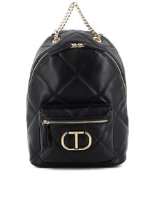 Twin-Set - Black quilted faux leather backpack