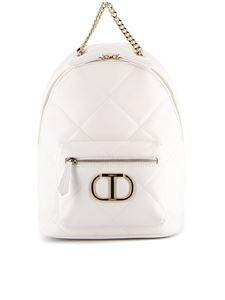 Twin-Set - White quilted faux leather backpack