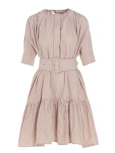 Chloé - Belted dress in white and beige