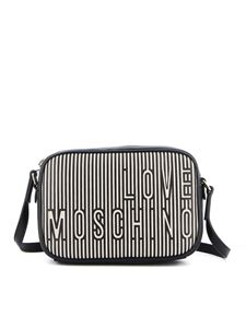 Love Moschino - Striped faux leather shoulder bag in black