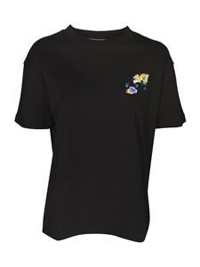 Off-White - T-shirt with logo and flower print in black