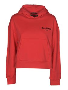 Balmain - Dropped shoulder logo hoodie in fuchsia
