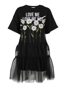 Red Valentino - Daisy T-shirt dress with tulle in black