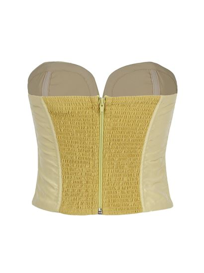 Etro - Top with sweetheart neckline in yellow