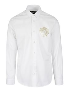Versace Jeans Couture - Logo embroidery cotton shirt in white