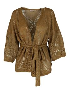 Twin-Set - Viscose-blend lace cardigan in gold