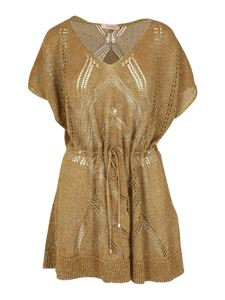 Twin-Set - Viscose blend lace dress in gold