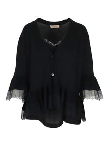 Twin-Set - Cotton-knit cardigan with lace flounces in black