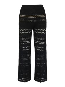Twin-Set - Viscose lace trousers in black