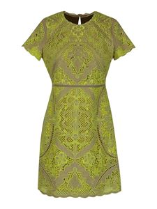 Twin-Set - Contrasting embroidery dress in yellow