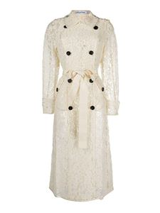 Self-Portrait - Lace trench coat in white