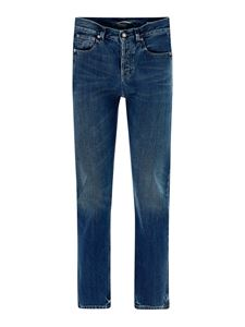 Saint Laurent - Jeans in cotone effetto sbiadito blu